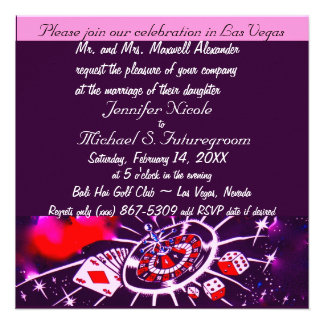 Invitación púrpura del boda del tema de Vegas de l