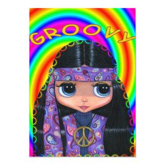 Invitación púrpura del chica del Hippie de Paisley