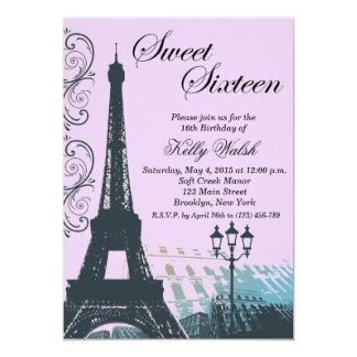 Invitación púrpura del dulce dieciséis de París de