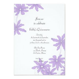 Invitación púrpura del fiesta de Quinceanera de