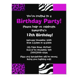 Invitación púrpura del fiesta del estampado de invitación 10,8 x 13,9 cm