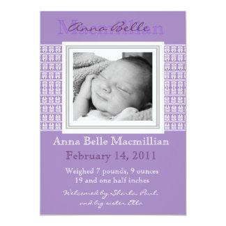 Invitación púrpura del nacimiento del bebé de la invitación 12,7 x 17,8 cm