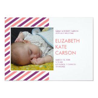 Invitación púrpura del nacimiento del bebé del invitación 12,7 x 17,8 cm