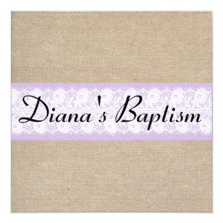 Invitación púrpura elegante del bautismo del