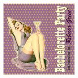 invitación púrpura retra del fiesta del bacheloret