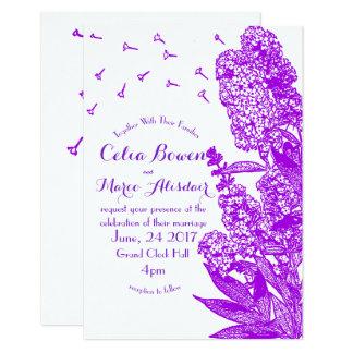 Invitación púrpura romántica del boda de la flor