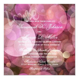 Invitación púrpura rosada abstracta del boda del