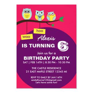Invitación púrpura rosada del cumpleaños del búho