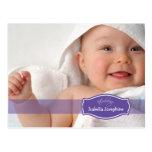Invitación (púrpura) simplemente elegante del naci tarjetas postales