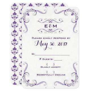 Invitación púrpura y gris RSVP del boda