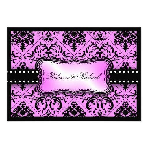 Invitación púrpura y negra hermosa del damasco del