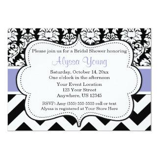 Invitación púrpura y negra violeta del damasco de