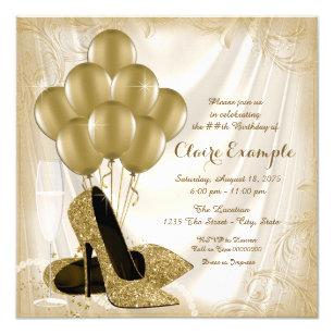 Invitación Purpurina Del Satén De La Fiesta De Cumpleaños De
