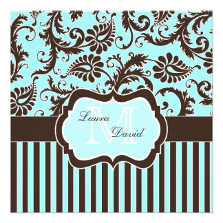 Invitación rayada blanca azul del damasco de Brown