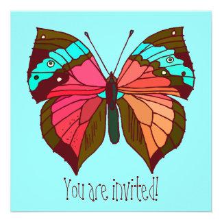 Invitación rayada de la mariposa de la turquesa