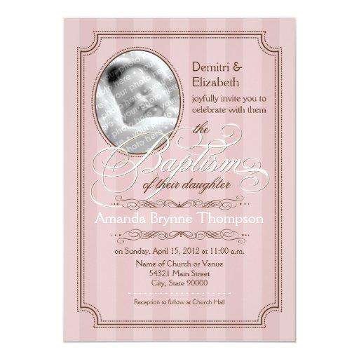 Invitación rayada del bautismo (palidezca - el invitación 12,7 x 17,8 cm