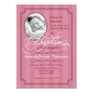 Invitación rayada del bautismo (rosa oscuro)