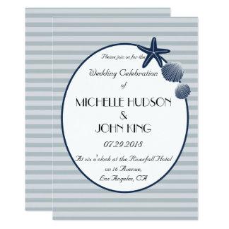 Invitación rayada del boda de la playa náutica del