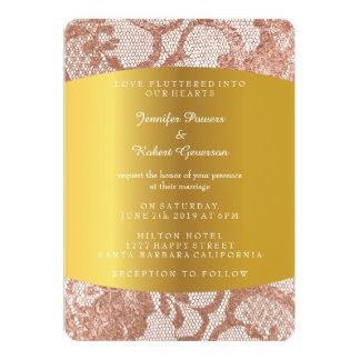 Invitación real boda color de rosa rosado del oro