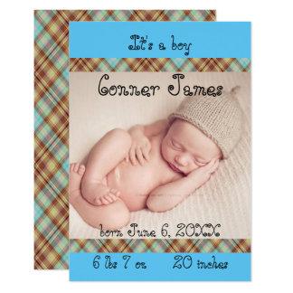 invitación recién nacida azul del nacimiento de la