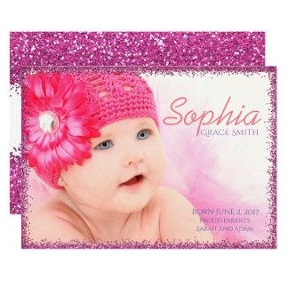 Invitación recién nacida del brillo rosado