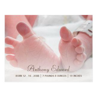 Invitación recién nacida del nacimiento de los postal
