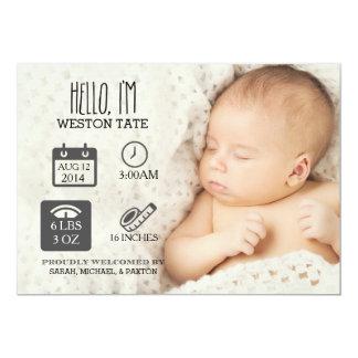 Invitación recién nacida del nacimiento del Stats