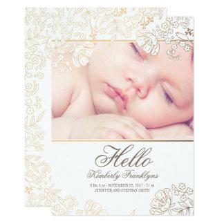 Invitación recién nacida floral del nacimiento de