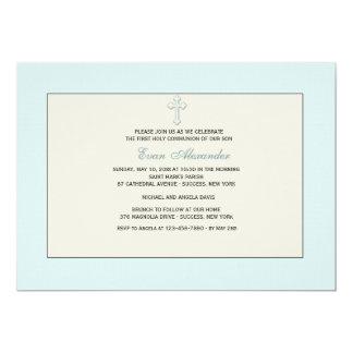 Invitación religiosa azul invitación 12,7 x 17,8 cm
