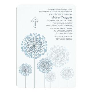 Invitación religiosa azul de los almácigos del