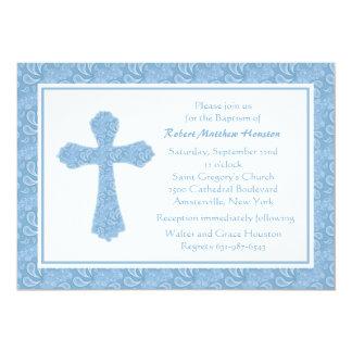 Invitación religiosa azul de Paisley