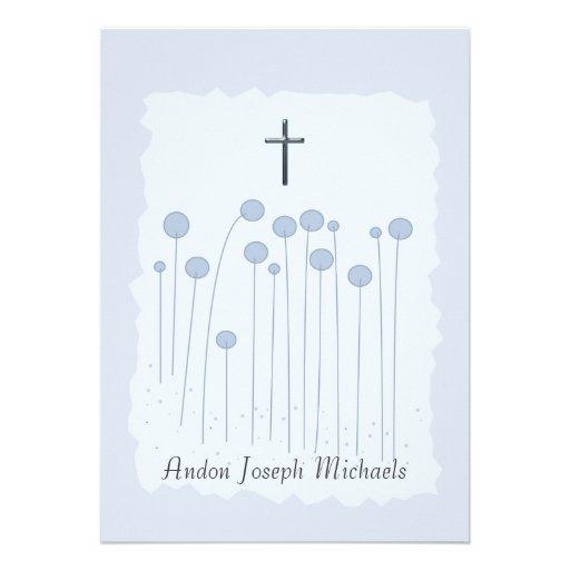Invitación religiosa azul preciosa
