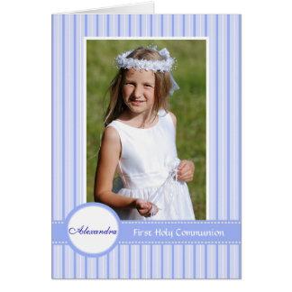 Invitación religiosa azul rayada de la foto tarjeta pequeña