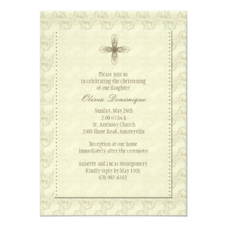 Invitación religiosa cruzada del oro invitación 12,7 x 17,8 cm