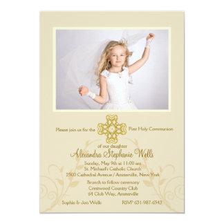 Invitación religiosa cruzada redondeada de la foto invitación 12,7 x 17,8 cm
