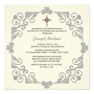 Invitación religiosa cuadrada brillante