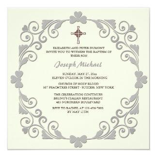Invitación religiosa cuadrada brillante invitación 13,3 cm x 13,3cm