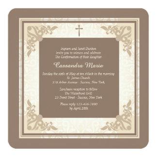 Invitación religiosa cuadrada elegante
