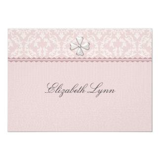 Invitación religiosa cubierta damasco rosado invitación 12,7 x 17,8 cm