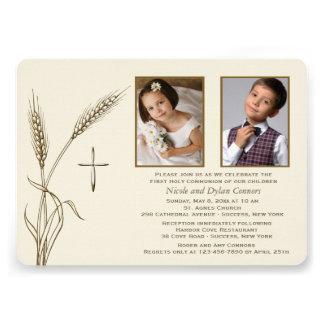 Invitación religiosa de dos fotos del trigo