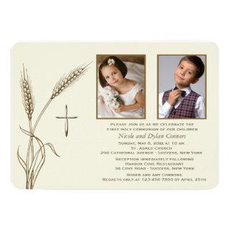 Invitación religiosa de dos fotos del trigo invitación 12,7 x 17,8 cm