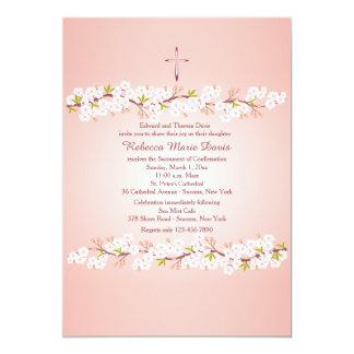 Invitación religiosa de la flor de cerezo invitación 12,7 x 17,8 cm