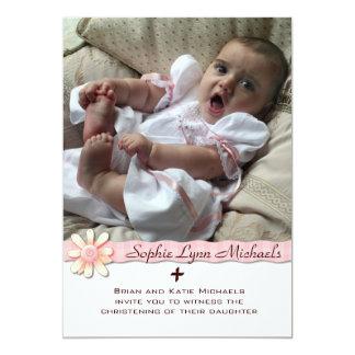 Invitación religiosa de la foto de la cinta rosada