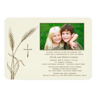 Invitación religiosa de la foto del trigo una invitación 12,7 x 17,8 cm