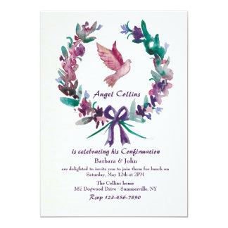 Invitación religiosa de la paloma de la acuarela