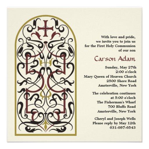 Invitación religiosa de la ventana de la catedral