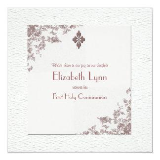 Invitación religiosa de las esquinas color de rosa