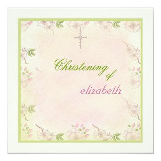 Invitación religiosa de las flores de cerezo invitación 13,3 cm x 13,3cm