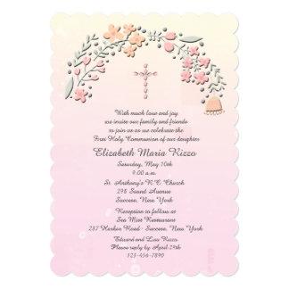 Invitación religiosa de las flores delicadas invitación 12,7 x 17,8 cm