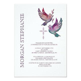 Invitación religiosa de las palomas de la acuarela